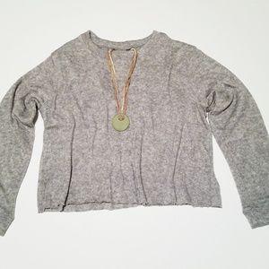 Gray Heathered Pullover Slub Sweater